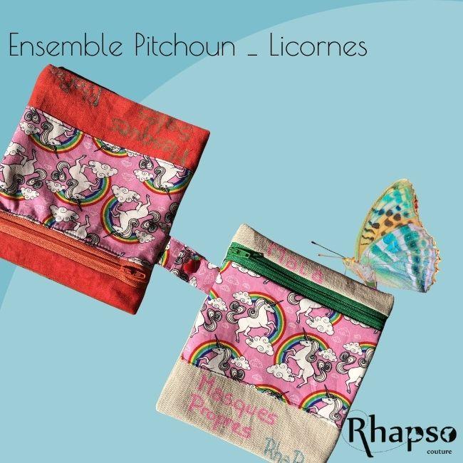 RHAPSO Couture, les trousses Pitchoun pour ranger les masques propres et sales séparément