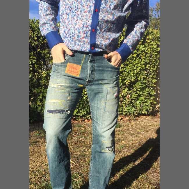 Rhapso Couture, chemise et jean's d'atelier chez Thomas